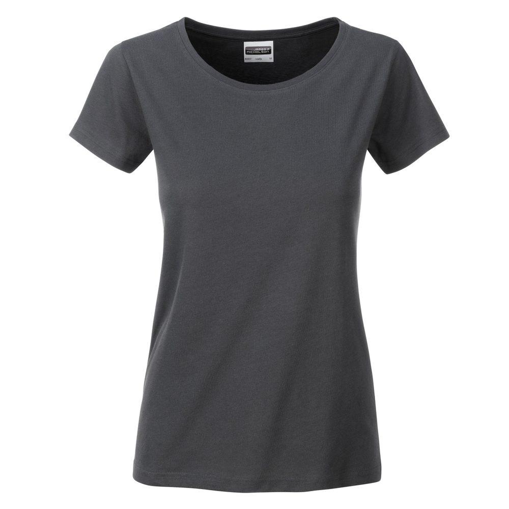 James & Nicholson Klasické dámske tričko z biobavlny 8007 - Grafitová | M