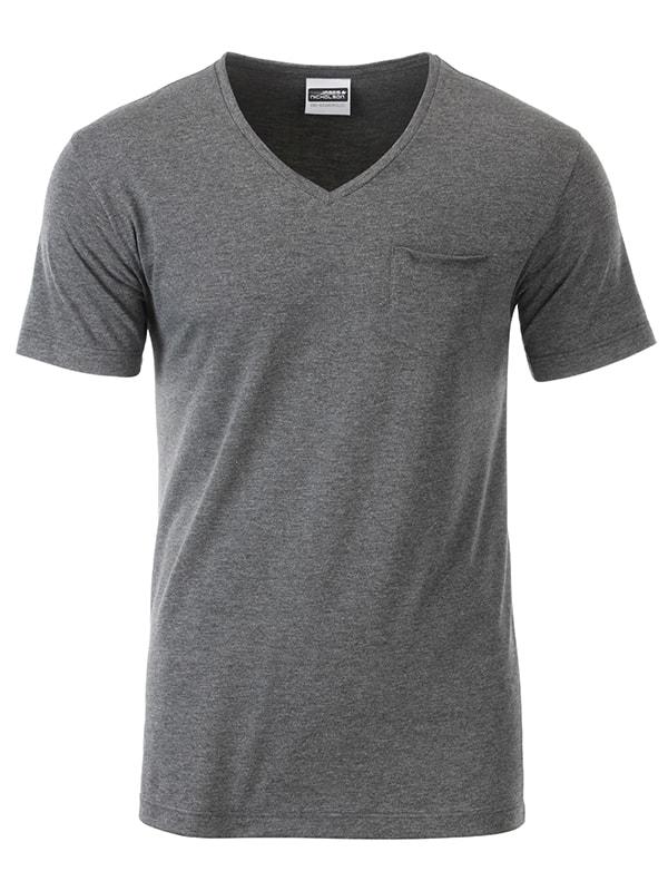 James & Nicholson Pánske tričko z biobavlny 8004 - Černý melír | XXL