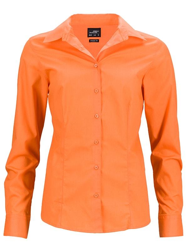 James & Nicholson Dámska košeľa s dlhým rukávom JN641 - Oranžová | S