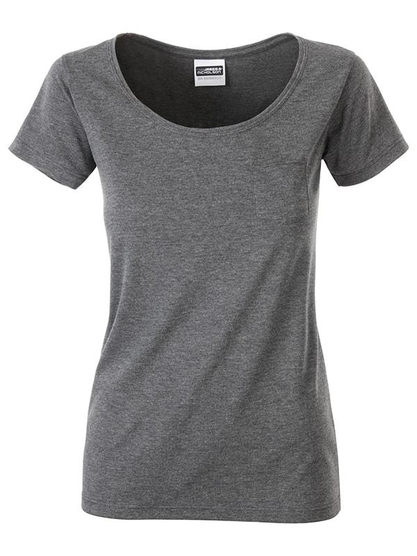 James & Nicholson Dámske tričko z biobavlny 8003 - Černý melír | XL
