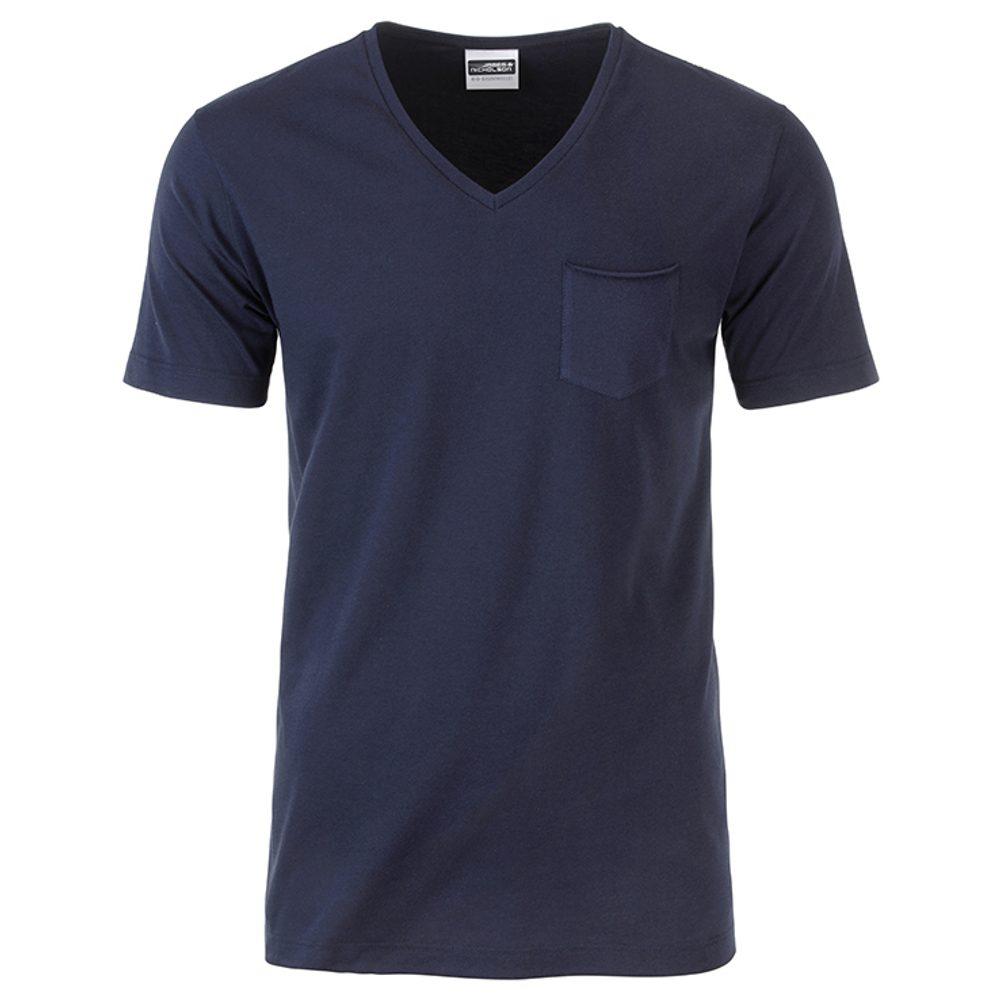 James & Nicholson Pánske tričko z biobavlny 8004 - Tmavě modrá | S