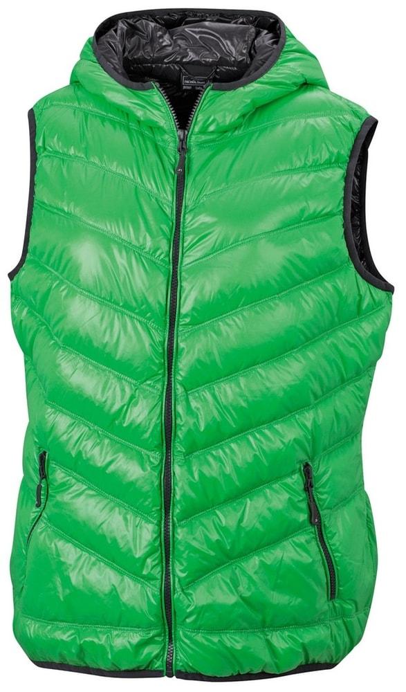James & Nicholson Ľahká dámska páperová vesta JN1061 - Zelená / tmavě šedá   XXL