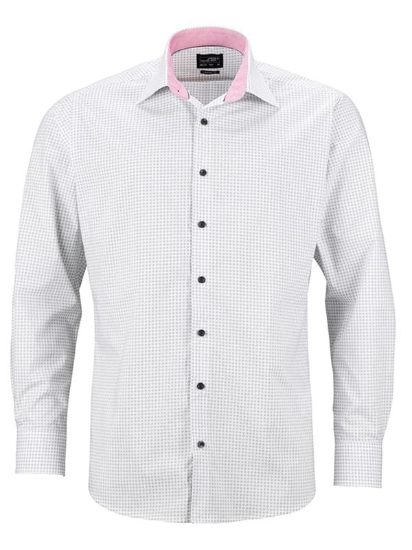 James & Nicholson Pánská luxusní košile Dots JN674 - Bílá / titanová   M