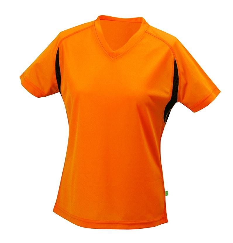 James & Nicholson Dámske športové tričko s krátkym rukávom JN316 - Oranžová / černá | M