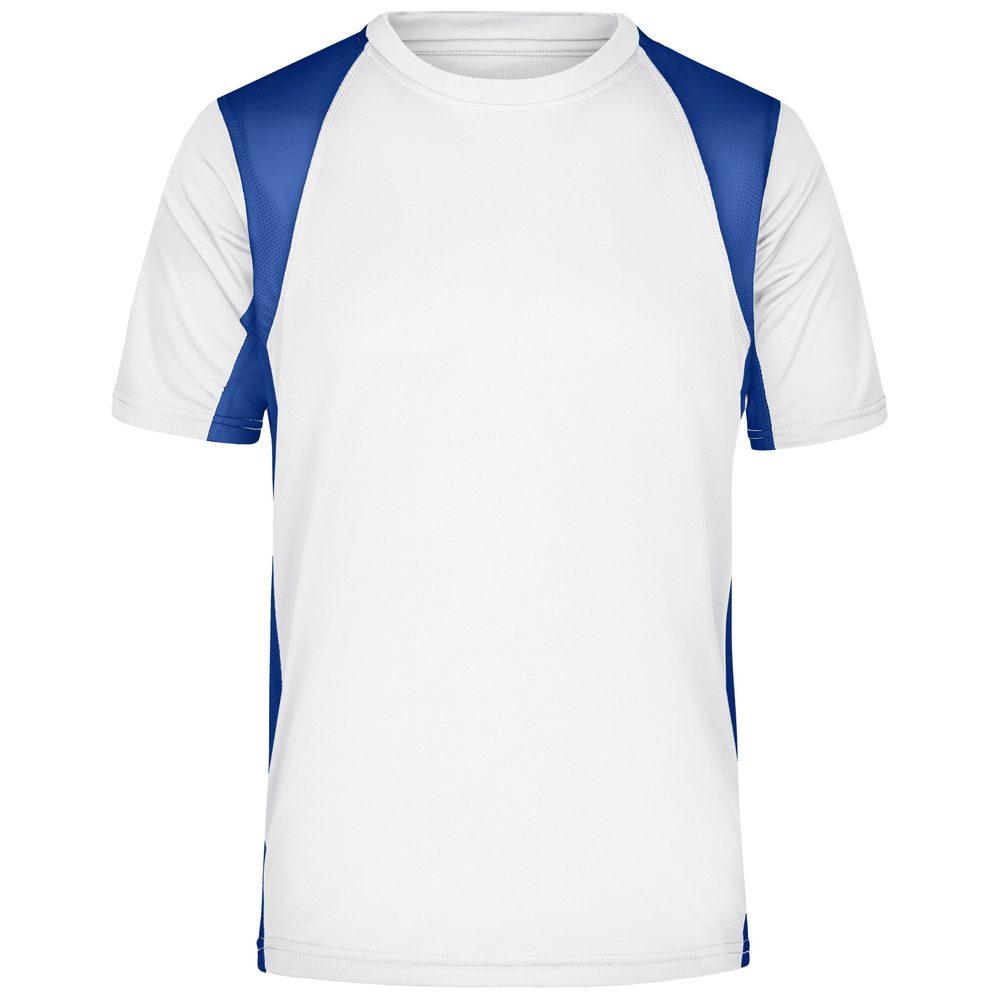 James & Nicholson Pánske športové tričko s krátkym rukávom JN306 - Bílá / královská modrá | XL