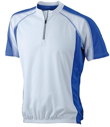 James & Nicholson Pánske cyklistické tričko JN420 - Bílá / královská modrá | XL