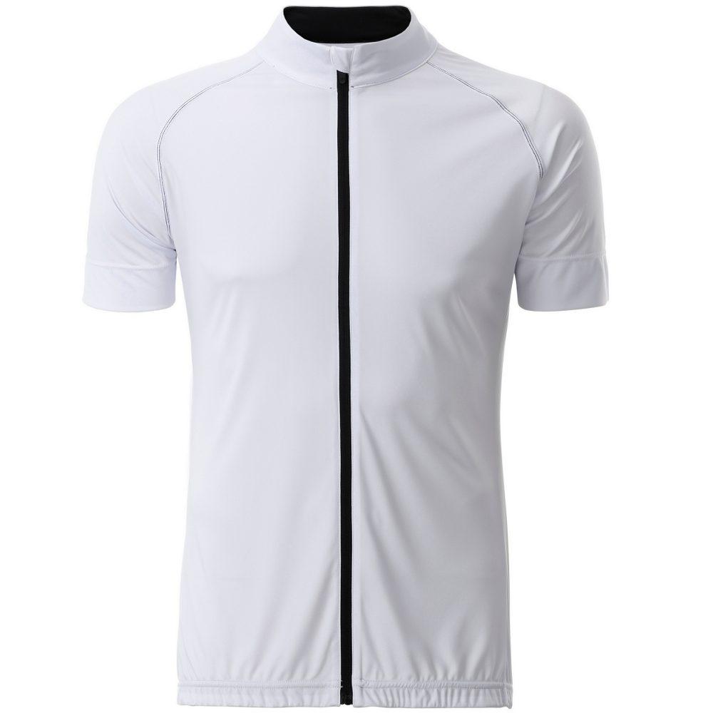 James & Nicholson Pánský cyklistický dres na zip JN516 - Bílá / černá   XXL