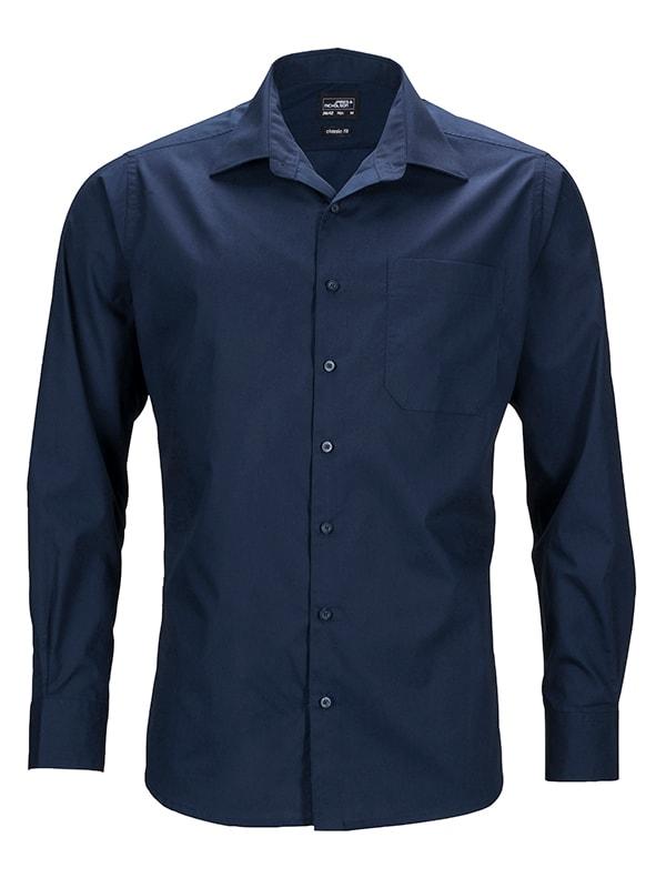 Pánská košile s dlouhým rukávem JN642 - Tmavě modrá   XXXXL