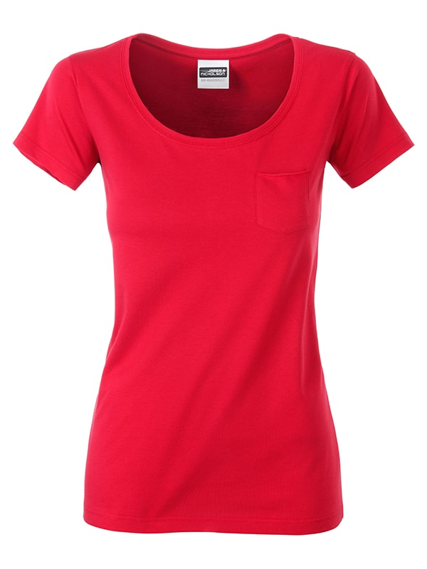 James & Nicholson Dámske tričko z biobavlny 8003 - Červená | S