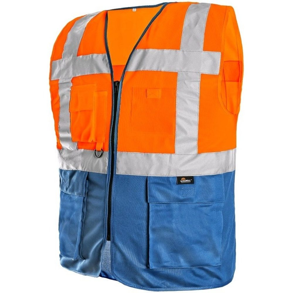 Canis Výstražná vesta BOLTON - Oranžová / modrá   XXL
