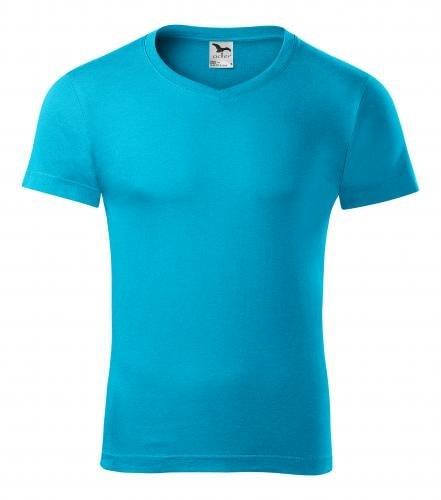 Adler Pánske tričko Slim Fit V-neck - Tyrkysová   XXL