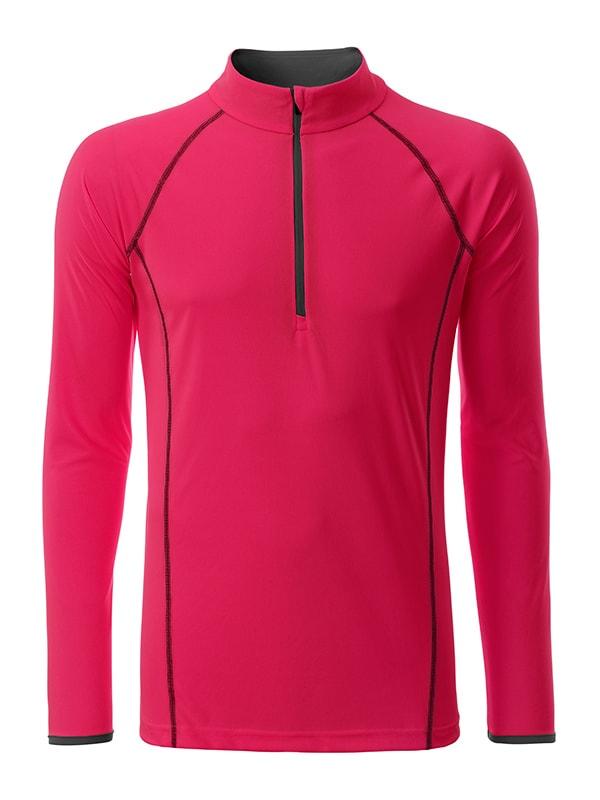 Pánské funkční tričko s dlouhým rukávem JN498 - Jasně růžová / titanová   S