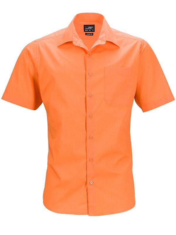 James & Nicholson Pánská košile s krátkým rukávem JN644 - Oranžová   M