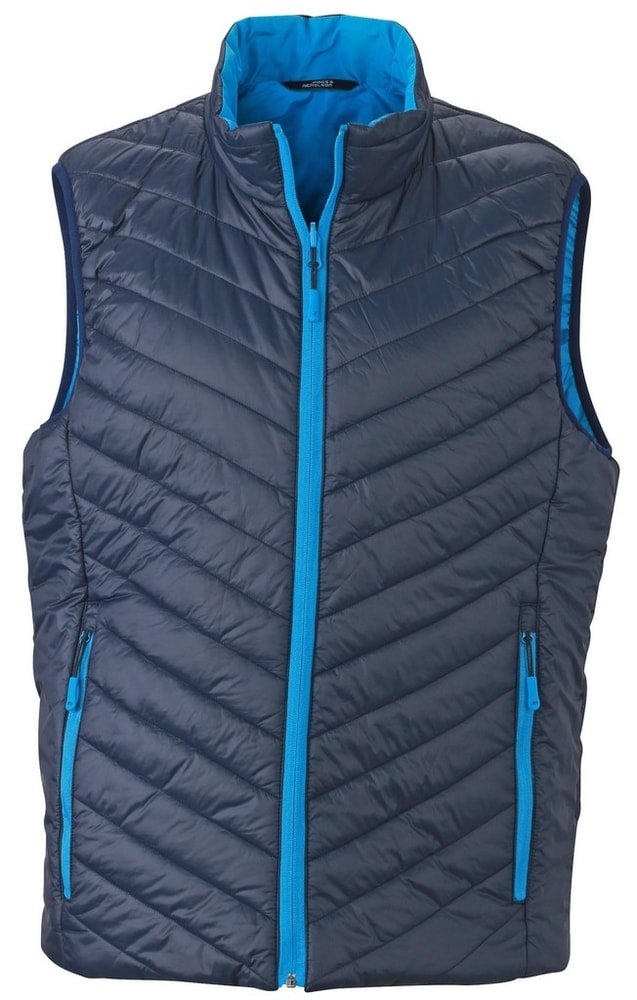 James & Nicholson Ľahká pánska obojstranná vesta JN1090 - Tmavě modrá / aqua | XXXL