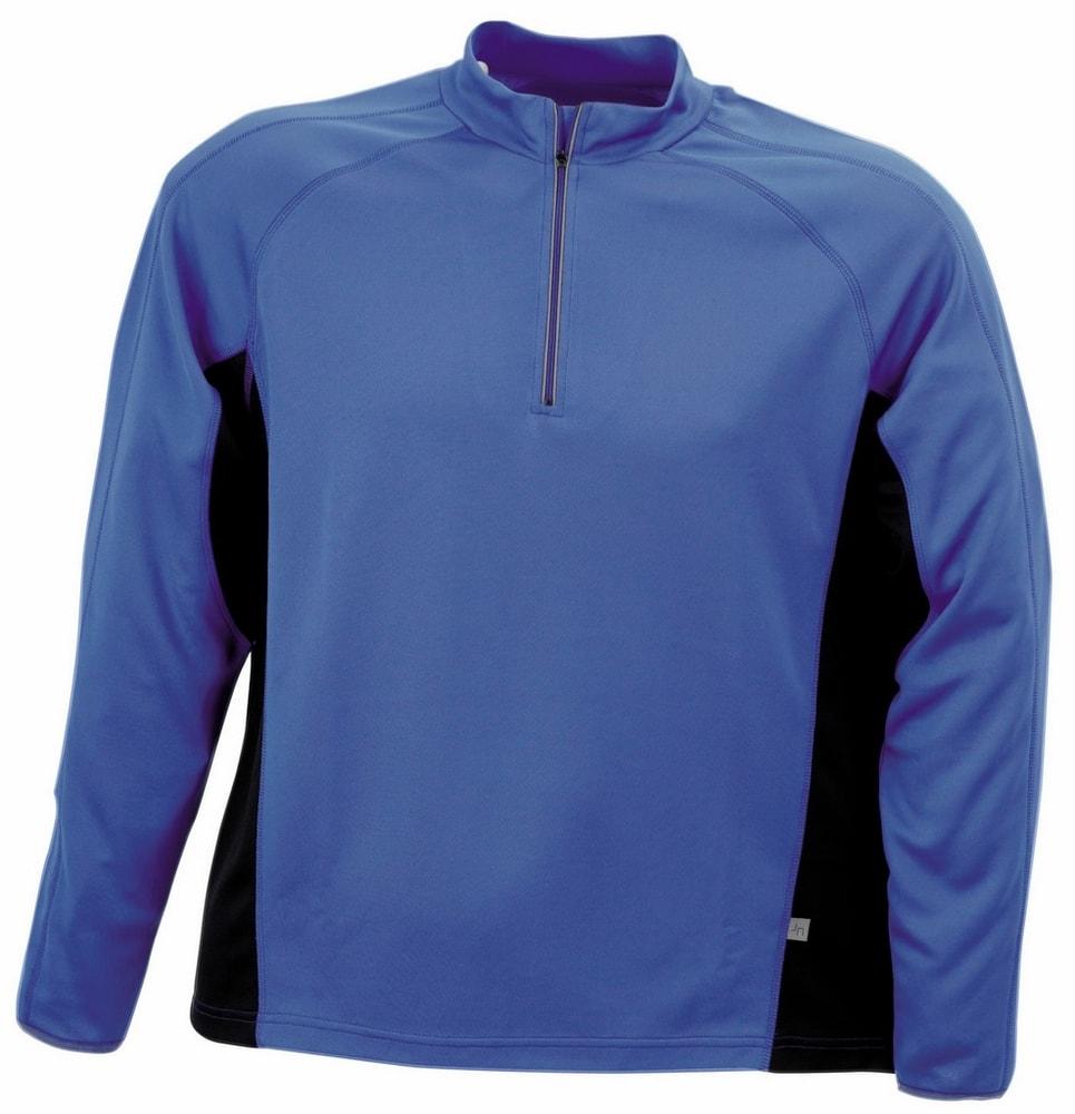 James & Nicholson Pánske športové tričko s dlhým rukávom JN307 - Královská modrá / černá   XXXL