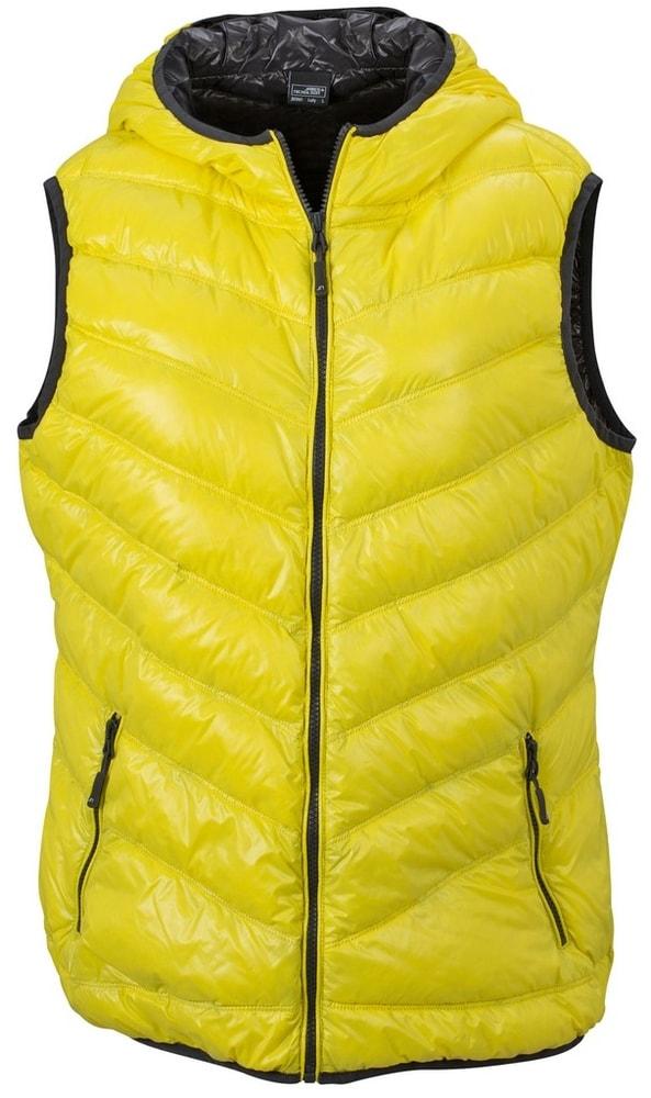 James & Nicholson Ľahká dámska páperová vesta JN1061 - Žlutá / tmavě šedá | XL