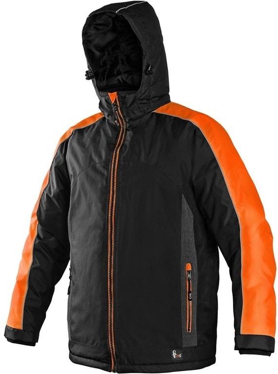 Canis Pánska zimná bunda BRIGHTON - Černá / oranžová | XXXL