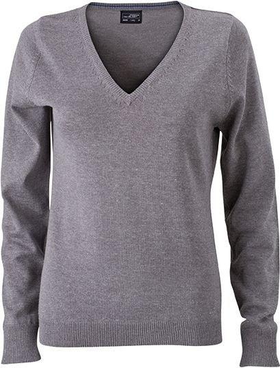 Dámský bavlněný svetr JN658 - Šedý melír | L