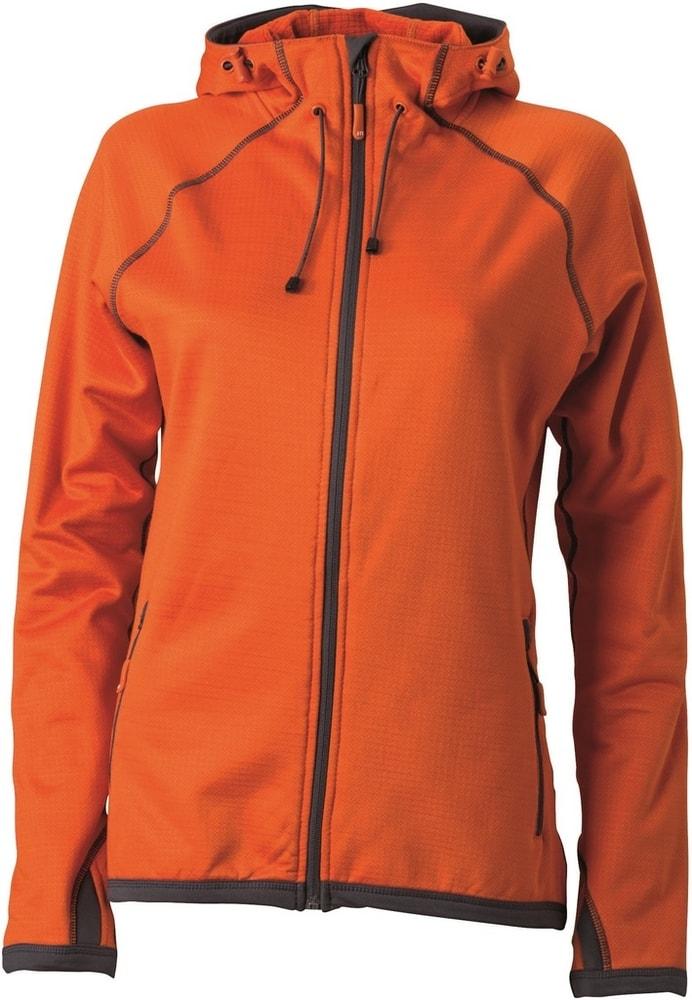 James & Nicholson Dámska športová mikina na zips JN570 - Tmavě oranžová / tmavě šedá | L
