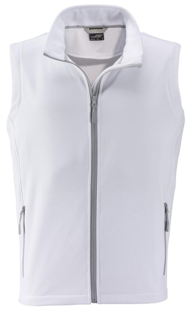 James & Nicholson Pánska softshellová vesta JN1128 - Bílá / bílá | XXXL