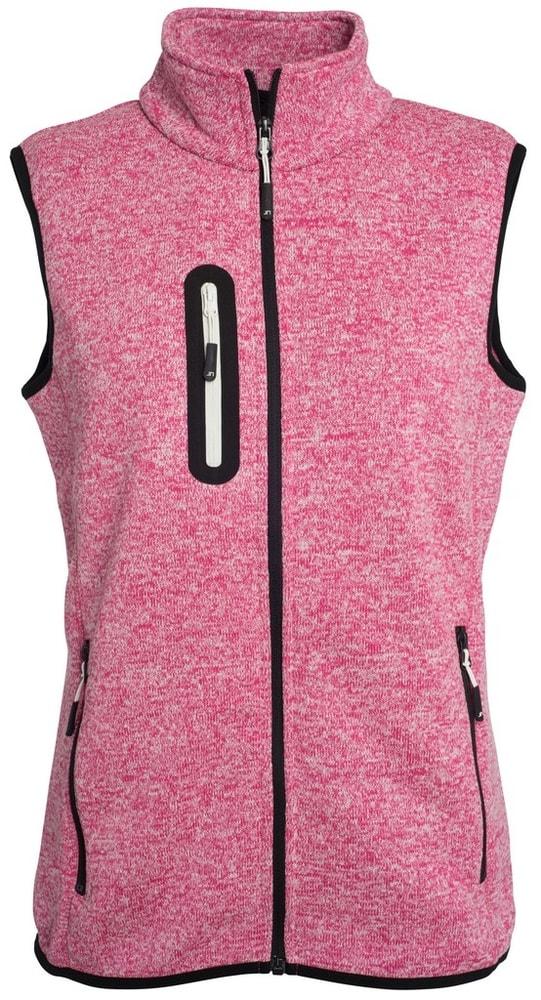 James & Nicholson Dámska vesta z pleteného fleecu JN773 - Růžový melír / šedo-bílá   S