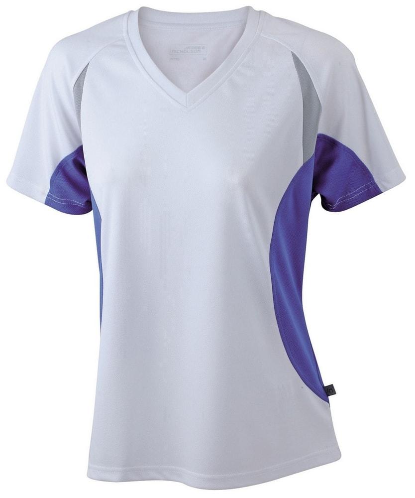James & Nicholson Dámské funkční tričko s krátkým rukávem JN390 - Bílá / královská modrá | XXL