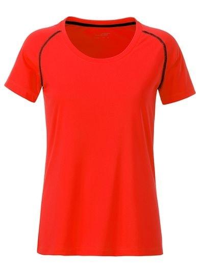 James & Nicholson Dámske funkčné tričko JN495 - Jasně oranžová / černá | M