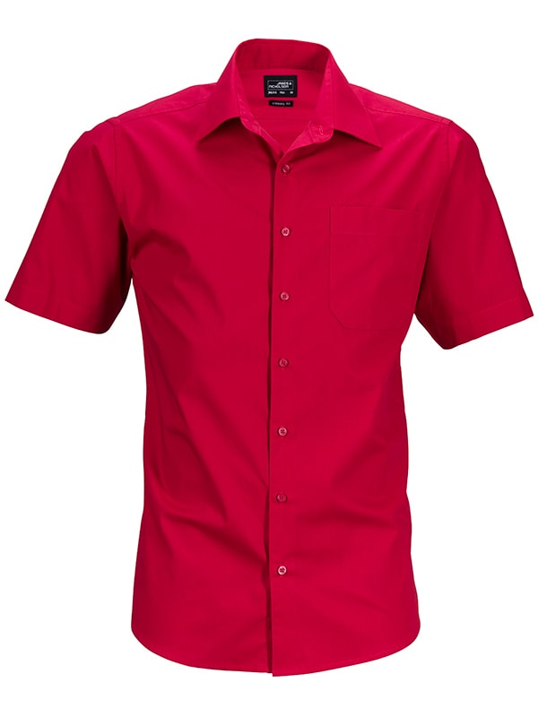 James & Nicholson Pánská košile s krátkým rukávem JN644 - Červená   S