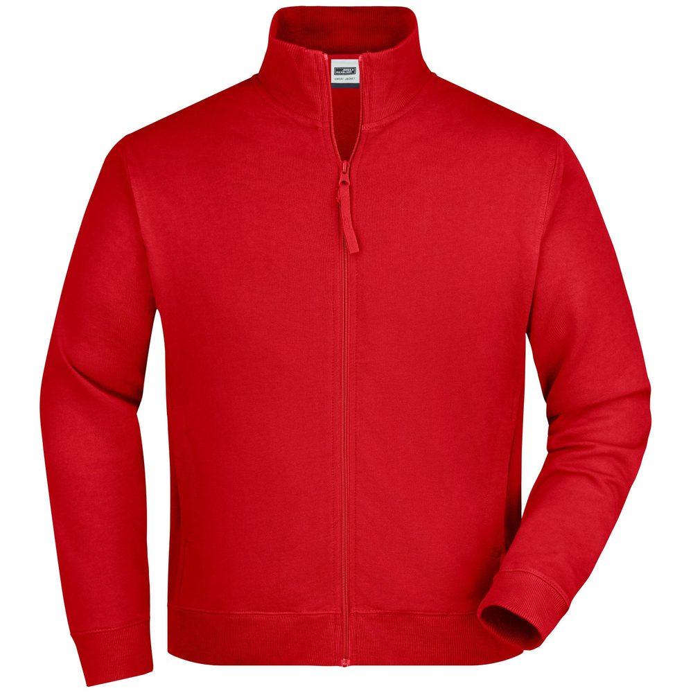 James & Nicholson Pánska mikina na zips bez kapucne JN058 - Červená | XL