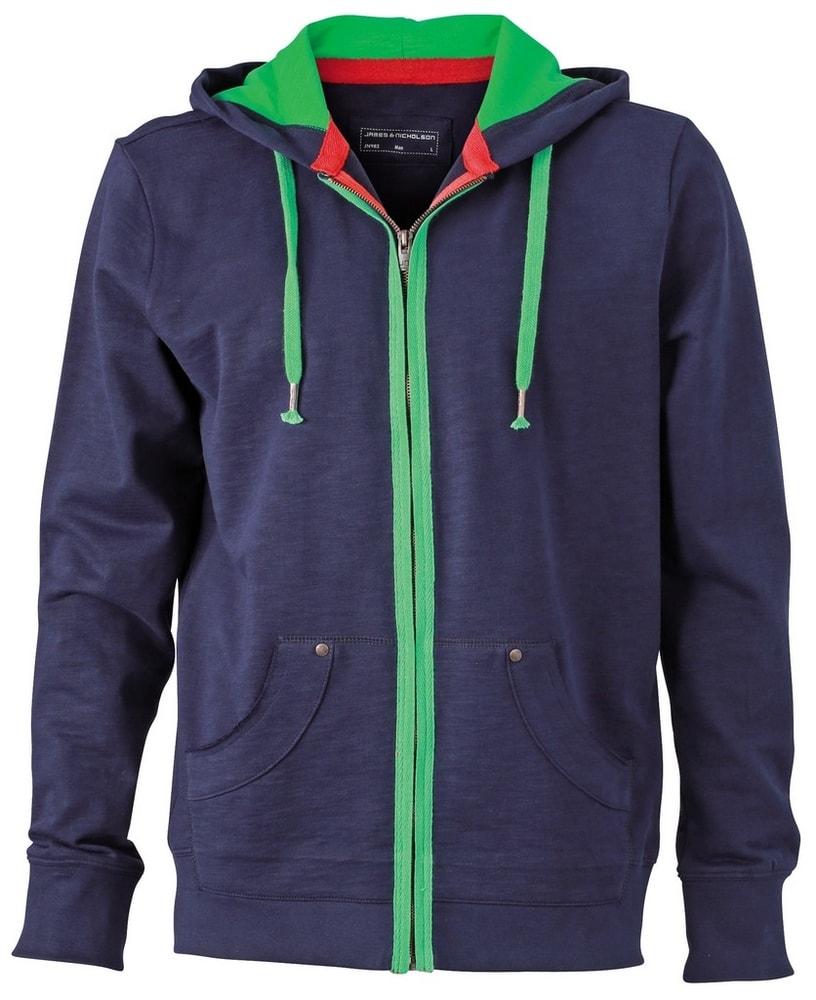 Pánská mikina na zip Urban JN982 - Tmavě modrá / kapradinově zelená | M