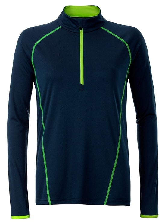 James & Nicholson Dámske funkčné tričko s dlhým rukávom JN497 - Tmavě modrá / jasně žlutá | XL