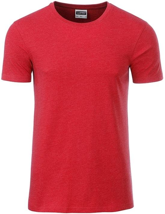James & Nicholson Klasické pánske tričko z biobavlny 8008 - Karmínový melír   L