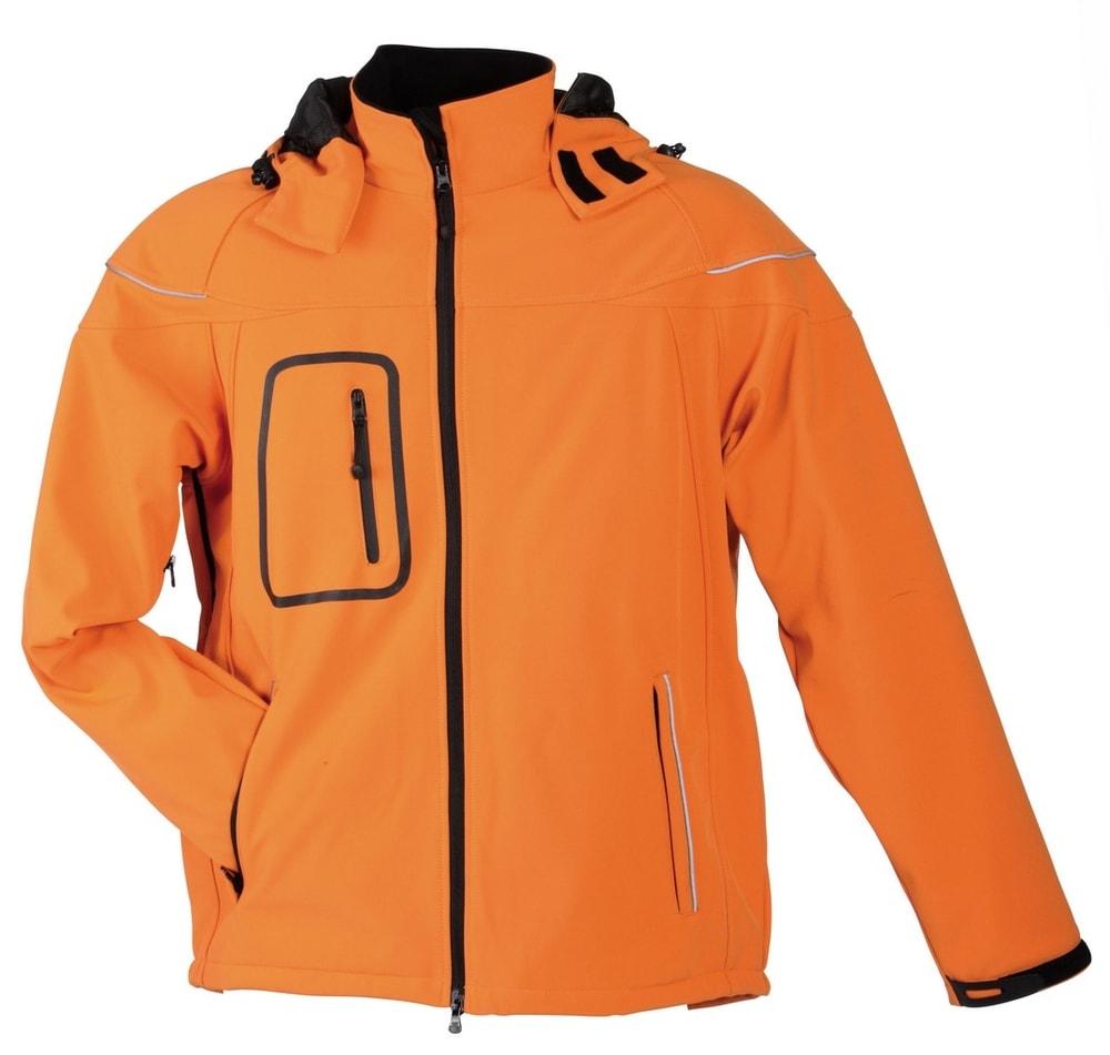 James & Nicholson Zimná pánska softshellová bunda JN1000 - Oranžová | XXXL