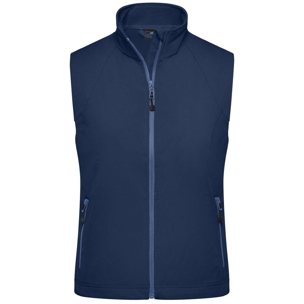 James & Nicholson Dámska softshellová vesta JN1023 - Tmavě modrá   M