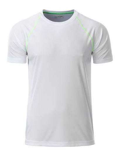 James & Nicholson Pánske funkčné tričko JN496 - Bílá / jasně zelená | XL