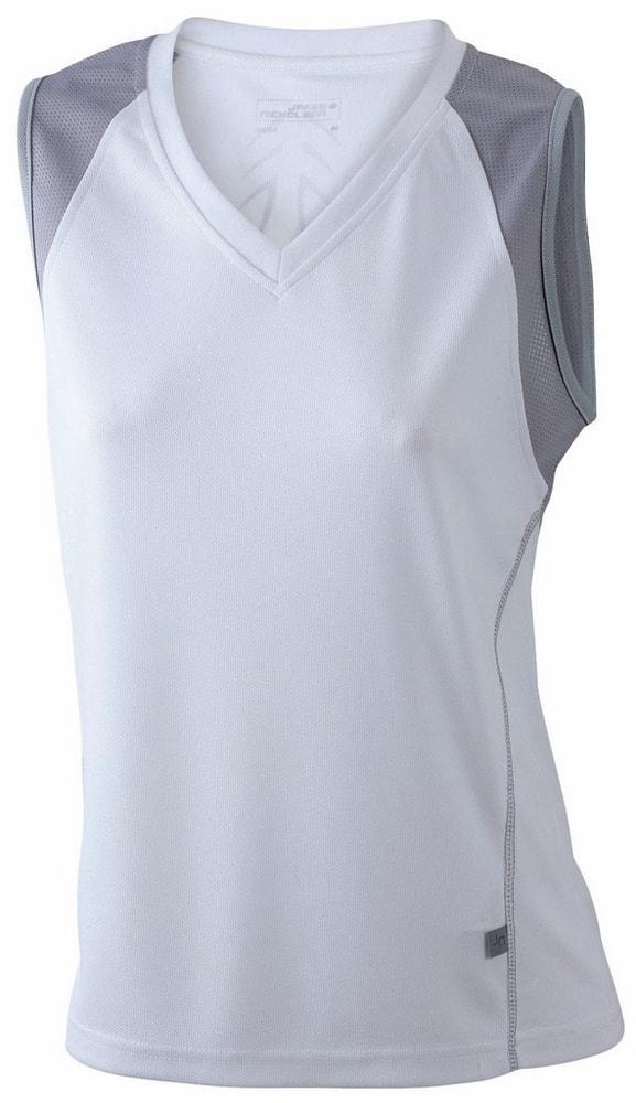James & Nicholson Dámske bežecké tričko bez rukávov JN394 - Bílá / stříbrná | XXL
