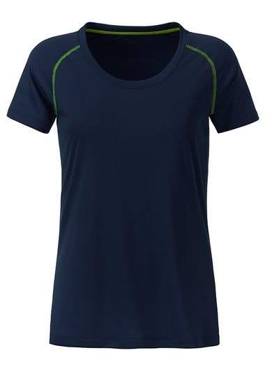 James & Nicholson Dámske funkčné tričko JN495 - Tmavě modrá / jasně žlutá | XL
