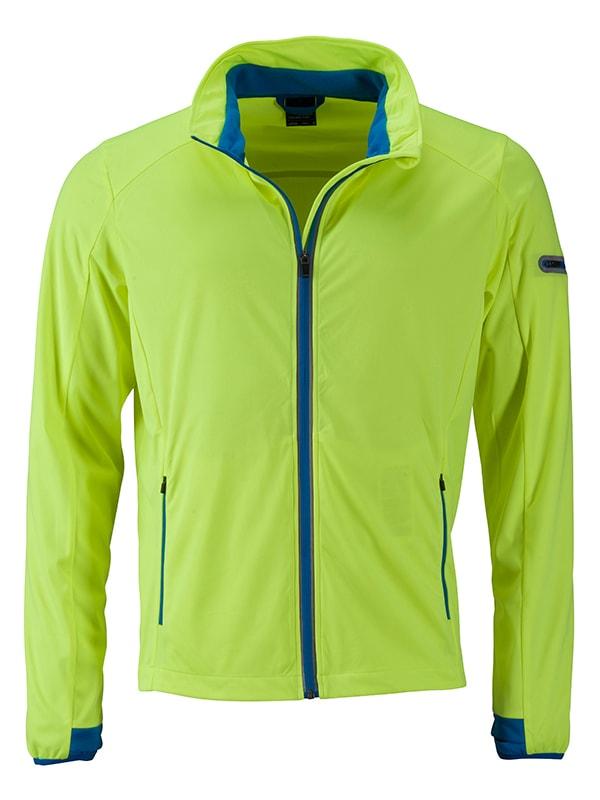 James & Nicholson Pánska športová softshellová bunda JN1126 - Jasně žlutá / jasně modrá   L