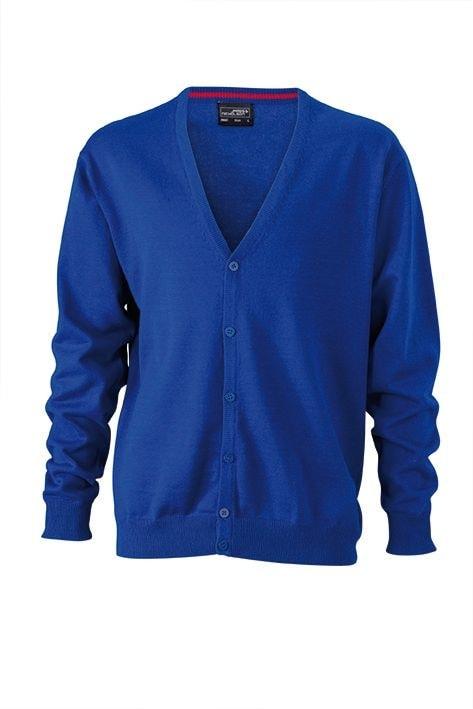 James & Nicholson Pánsky bavlnený sveter JN661 - Královská modrá | XXL