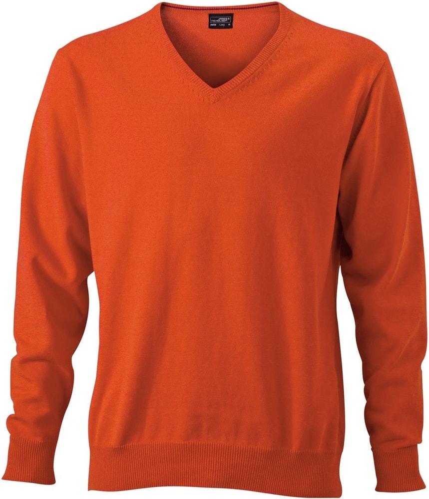 James & Nicholson Pánský bavlněný svetr JN659 - Tmavě oranžová   XXL