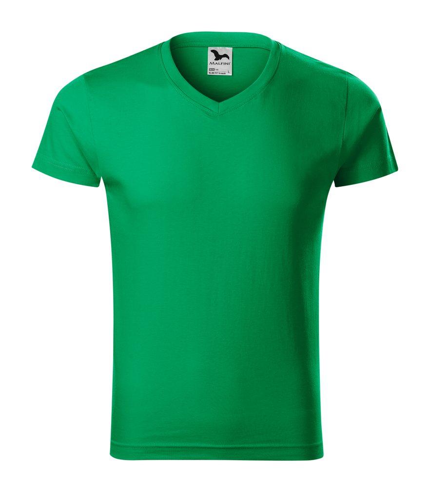 Adler Pánske tričko Slim Fit V-neck - Středně zelená | M