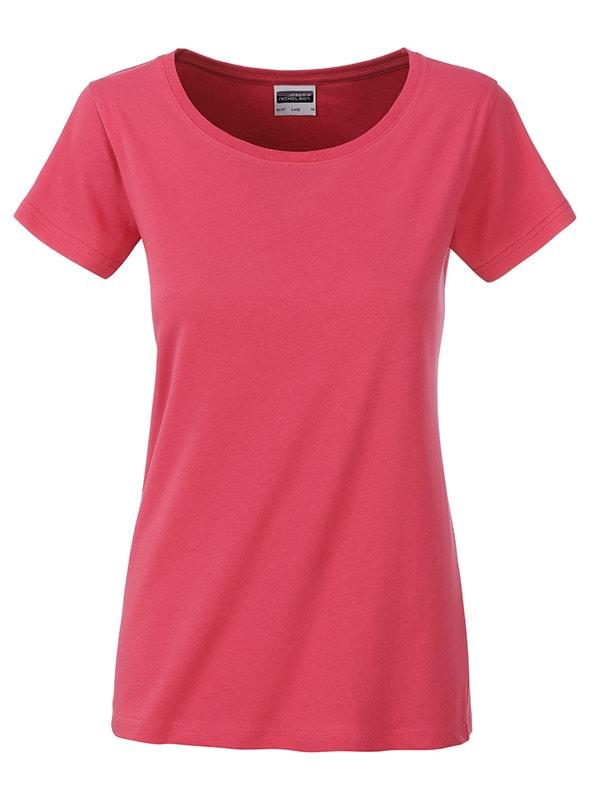 James & Nicholson Klasické dámske tričko z biobavlny 8007 - Malinová | XL