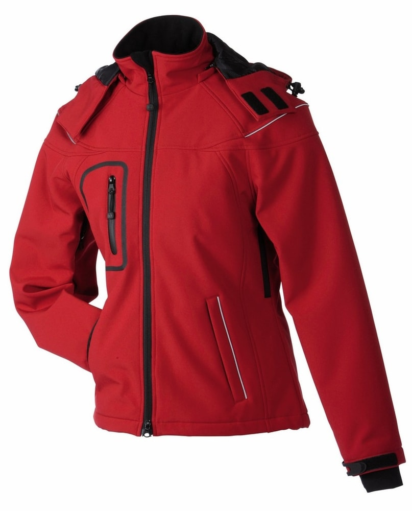 James & Nicholson Zimní dámská softshellová bunda JN1001 - Červená | L