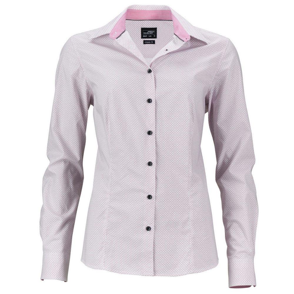 James & Nicholson Dámská luxusní košile Diamonds JN669 - Bílá / červená | XL