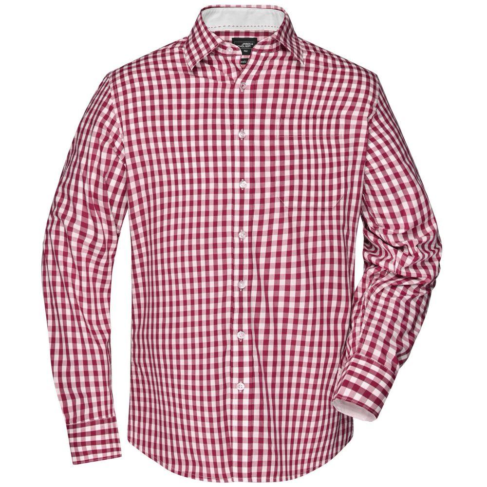 James & Nicholson Pánská kostkovaná košile JN617 - Bordeaux / bílá   L