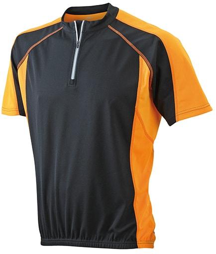 James & Nicholson Pánske cyklistické tričko JN420 - Černá / oranžová | XXXL