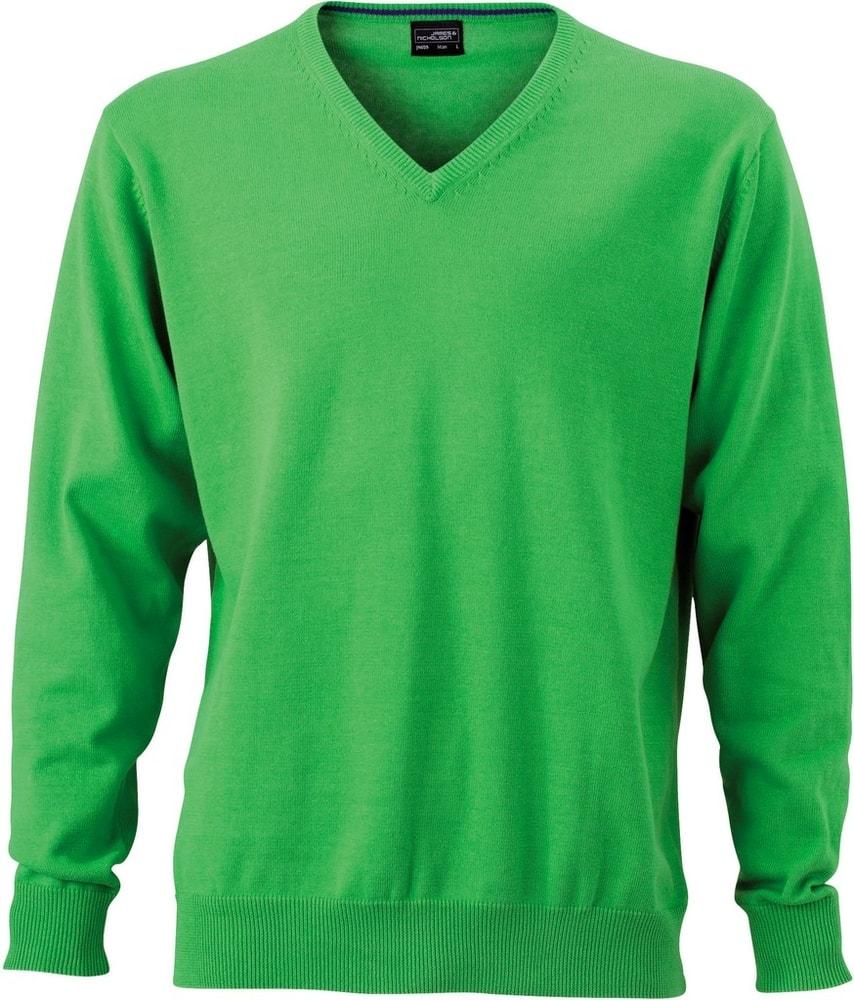 James & Nicholson Pánský bavlněný svetr JN659 - Zelená | XXXL