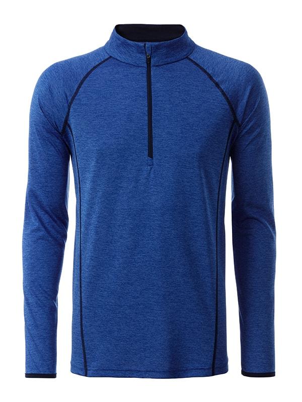 James & Nicholson Pánske funkčné tričko s dlhým rukávom JN498 - Modrý melír / tmavě modrá | XL