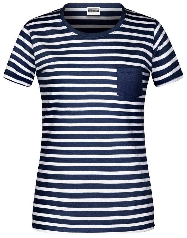 James & Nicholson Dámske pruhované tričko z biobavlny 8027 - Tmavě modrá / bílá | XL