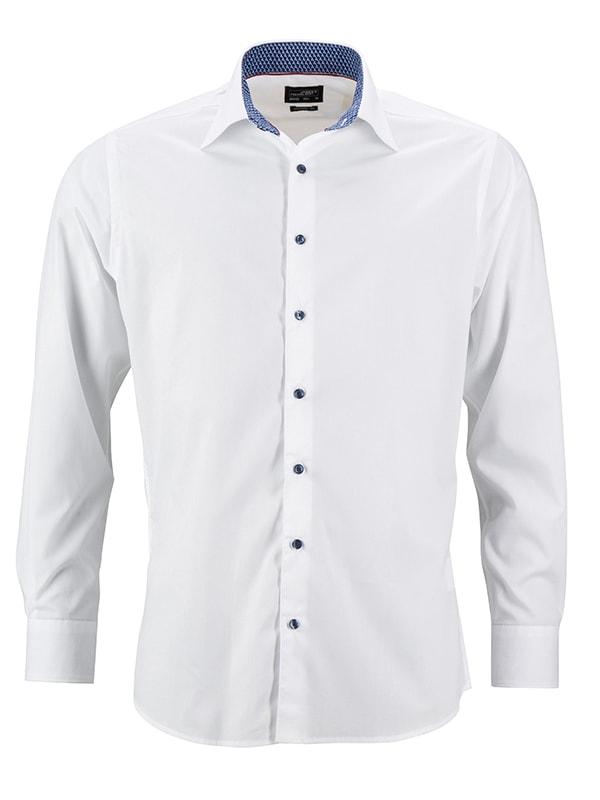 James & Nicholson Pánská bílá košile JN648 - Bílá / modrá / bílá | M